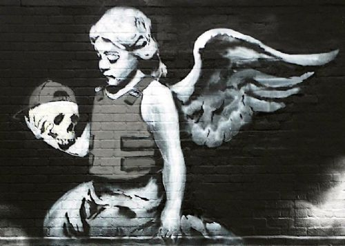 BANKSY - Cherub canvas print - self adhesive poster - photo print